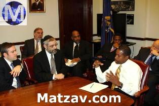 Left to right: Mr. Avi Schron, Assemblyman Dov Hikind, Agudath Israel executive vice president Rabbi Chaim Dovid Zwiebel, State Senators John Sampson and Kevin Parker, Senate Majority Leader Malcolm Smith, State Senator Carl Kruger.
