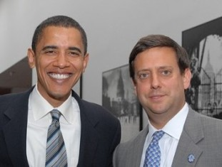 Nathan J. Diament, right, with President Obama.