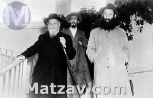 The Brisker Rov with his son, Rav Meir Soloveitchik, and Rav Moshe Soloveitchik.