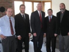 Rabbi Akiva Males, Jesse Hervitz, Congressman Tim Holden, Howie Beigelman, and Joel Hervitz.