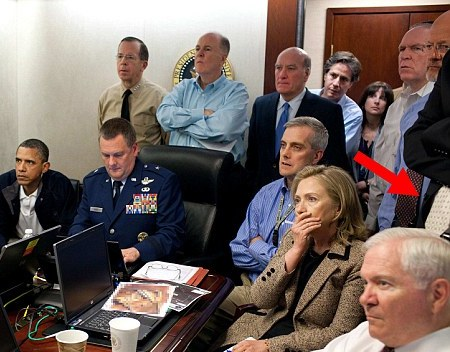 Looks familiar: The tell-tale tie can be seen on the right hand side of this, now famous, picture  Read more: http://www.dailymail.co.uk/news/article-2012228/Osama-Bin-Laden-dead-Is-THIS-CIA-operative-killed-Al-Qaedas-chief.html#ixzz1RgY4akWl