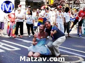 "David Weprin, right, proudly showing his support at a ""pride"" parade."