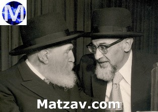 "His father, Rav Yechiel Aryeh Munk zt""l, with Rav Moshe Feinstein zt""l."
