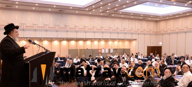 A Perl - Harav Pinchos Friedman, Rosh Kollelim Belz addresses the Yerusholayim Yarchei Kallah