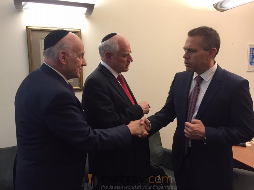 Erdan with Menachem Lubinsky and Malcolm Hoenlein
