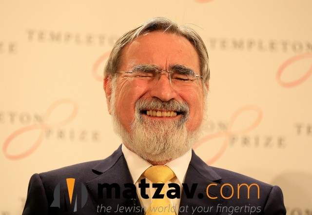 Rabbi Lord Jonathan Sacks, the former Chief Rabbi of the United Hebrew Congregations of the Commonwealth smiles at a news conference as it is announced he has been awarded the 2016 Templeton Prize, London, March 2, 2016. photo by Paul Hackett