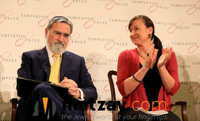 Rabbi Lord Jonathan Sacks, the former Chief Rabbi of the United Hebrew Congregations of the Commonwealth smiles at a news conference sitting next to Jennifer Templeton Simpson, grand daughter of Sir John Templeton and Chair of the John Templeton Foundation Board of Trustees as it is announced he has been awarded the 2016 Templeton Prize, London, March 2, 2016. photo by Paul Hackett