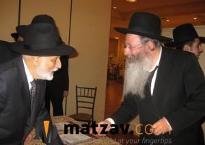 "Reb Avraham Yaakov z""l with his nephew, Rav Aryeh Malkiel Kotler."