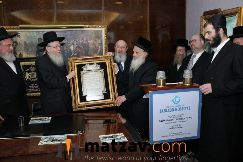 presentation-to-israels-minister-of-health-rabbi-yaakov-litzman-by-leibish-morgenstern-and-aaron-shaye-spitzer-looking-on-are-michael-rosenberg-left-and-rabbi-yitzchok-waldman-2nd-from-right