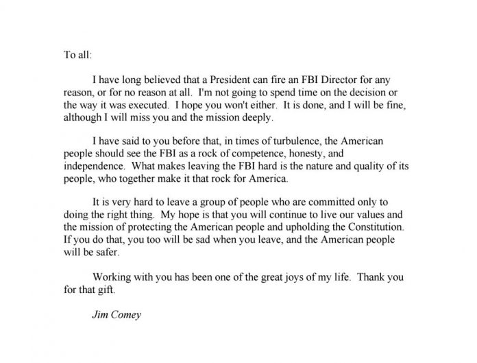 ComeyS Farewell Letter To His Fbi Colleagues  MatzavCom