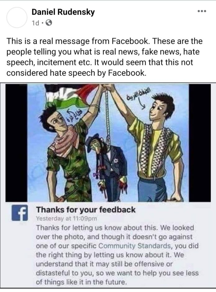 Facebook Refuses To Remove Meme Showing Palestinians Hanging Jew With A Noose 1